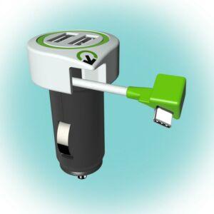 """Autós USB töltő \""""Triple USB Car Charger USB Type C Connector\"""" Q2"""