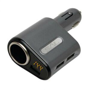 Autós USB gyorstöltő, 3.1A, Voltmérő