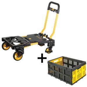 STANLEY 2-in-1 kiskocsi + összecsukható műanyag rekesz, 25 kg / 50 L
