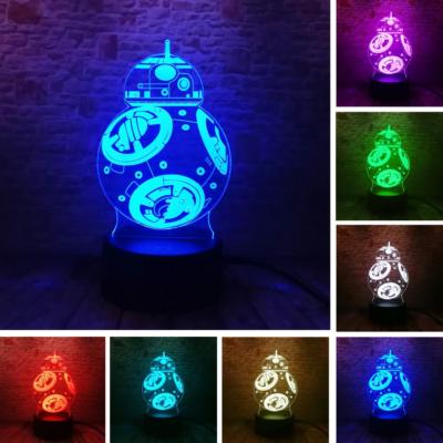 3D HATÁSÚ ÉJSZAKAI TÖBBSZÍNŰ LED LÁMPA STAR WARS BB-8 Ball