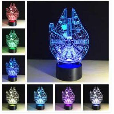 3D HATÁSÚ ÉJSZAKAI TÖBBSZÍNŰ LED LÁMPA Star Wars Millennium Falcon