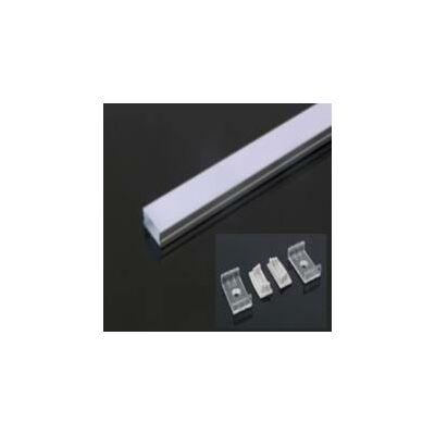 LED szalaghoz alu sín szett oldalfali sín 20mm-es szalaghoz 2fm+ opál takaró+4db rögzítő+2db végzáró