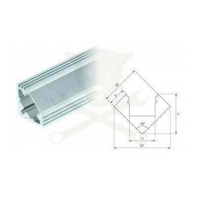 Profil, alumínium - LED szalaghoz - 90° sarok, 1 méteres