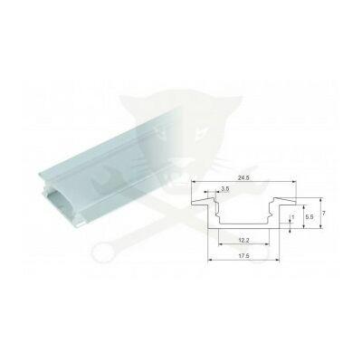 Profil, alumínium - LED szalaghoz - süllyeszthető, 1 méteres