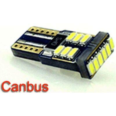 Autós led T10 Canbus helyzetjelző, index világítás, Samsung chip, 18 led, 70 Lumen, 1,5W, sárga.