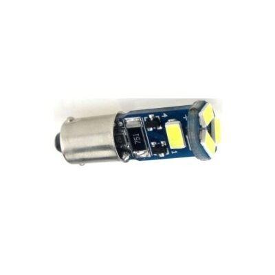 Autós led BA9S Canbus helyzetjelző, index világítás, Samsung chip, 5 led, 100 Lumen, 1,5W, hideg fehér.