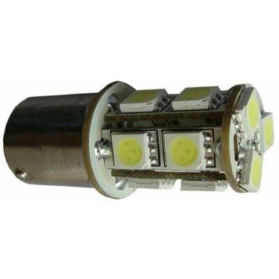 Autós led BA15S index, tolató, helyzetjelző világítás, 13 led, 95 Lumen, 2,5W, piros.