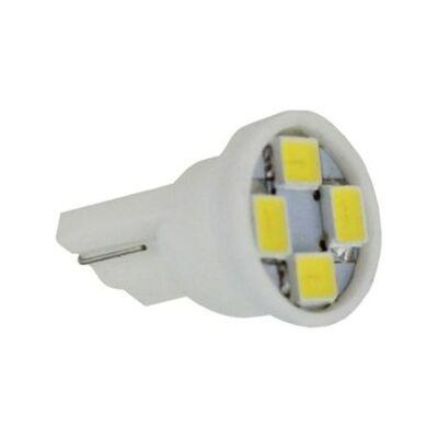 Autós led T10 helyzetjelző, index világítás, 4 led, 40 Lumen, 1W, sárga.