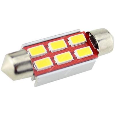 Autós led Sofita Canbus rendszám világítás, 6 led, 39 mm, 150 Lumen, 5730 chip, 2W, hideg fehér.