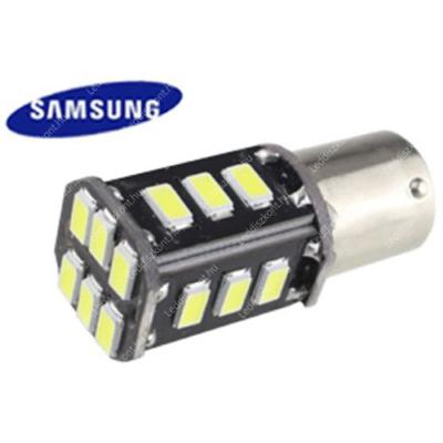 Autós led BA15Y Canbus fék+helyzetjelző lámpa világítás, 18 led, 200 Lumen, 5730 chip, 2,5W, hideg fehér.