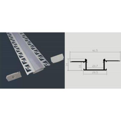 Led Profil tejszerű fedlappal 200 cm. falba süllyeszthető széles