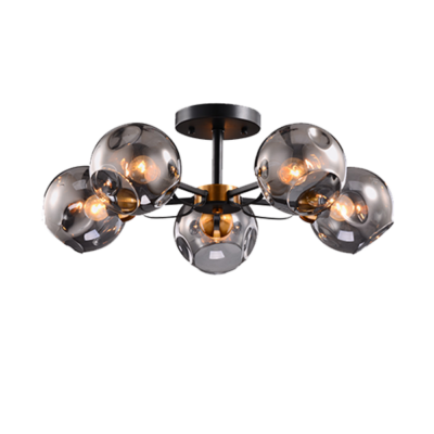 ELLARIA CHANDELIER 5xE27 WOOD/GREY