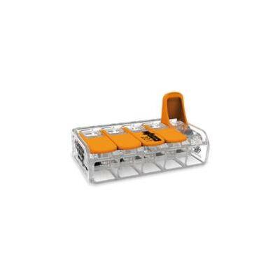Wago 221-415 nyitható vezetékösszekötő gyorcsatlakozó rugós 5-ös átlátszó 0,2-4mm2 32A