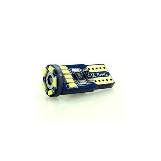 Autós led T10 Canbus helyzetjelző, index világítás, Samsung chip, 15 led, 70 Lumen, 1W, hideg fehér.