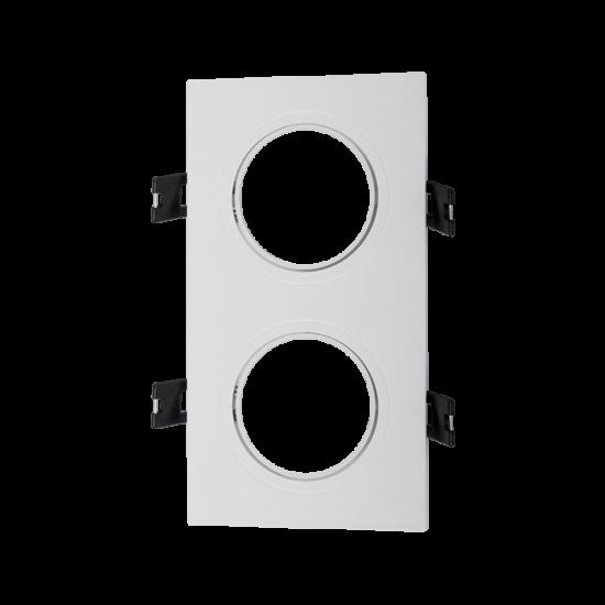 Square. Plastic downlight white double 93x173