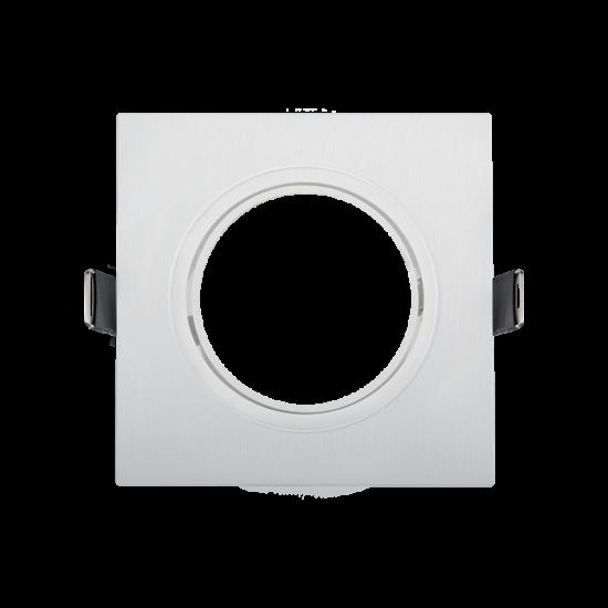 Square, plastic downlight white 93x93 met.ring