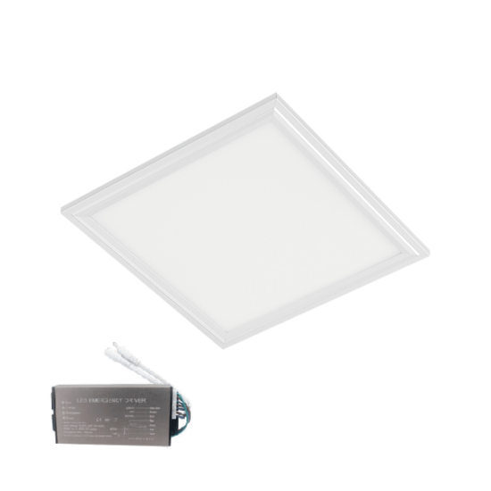 LED PANEL 48W 6400K 595x595mm IP44 WHITE FRAME+EM