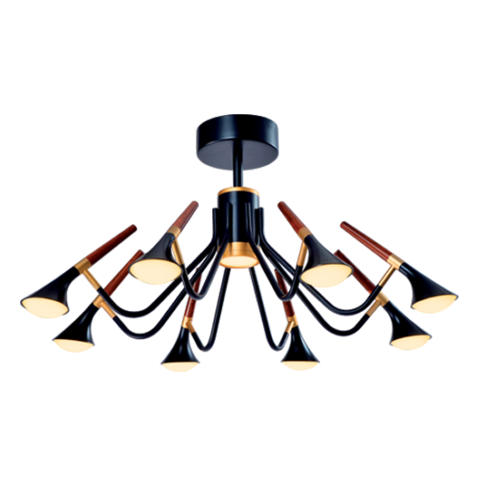DUNCAN LED CHANDELIER 45W 3000K MATTE BLACK/WOOD
