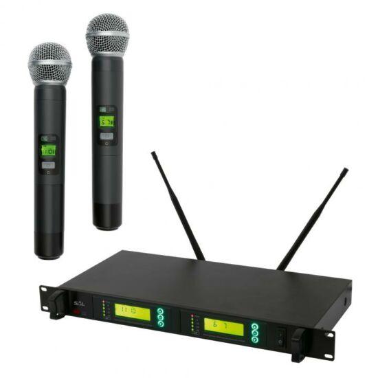 Mikrofon szett , vez. nélküli, 100m, LCD