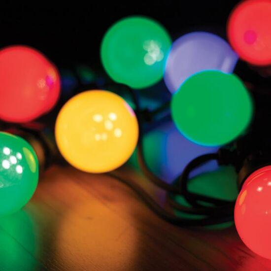 LED kültéri fényfüzér, 30 színes gömb, 14,5 m