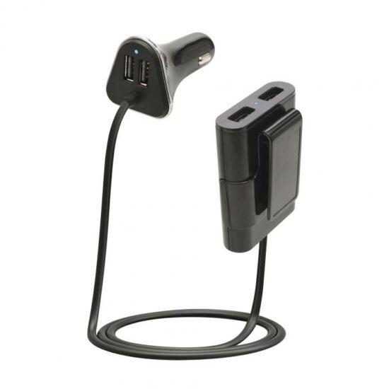 Autós USB gyorstöltő, 4x2,4A