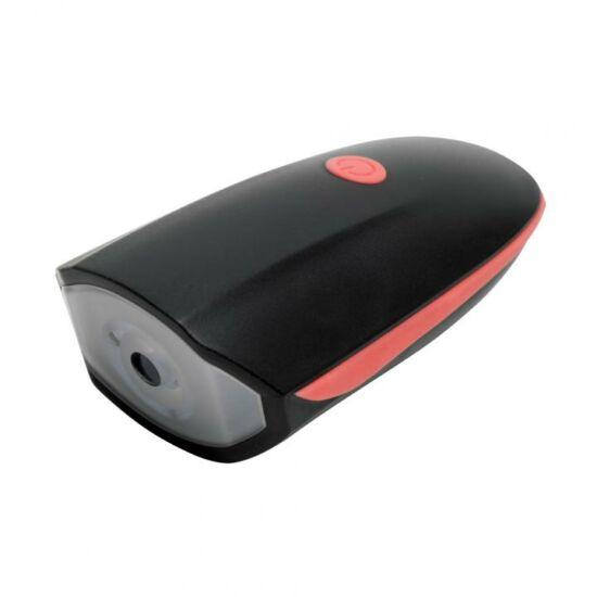LED-es tölthető kerékpárlámpa, 110 dB kürttel, 250 lumen (piros/fekete)