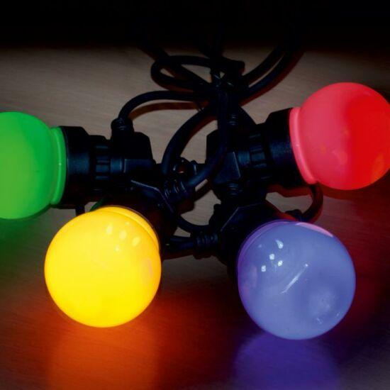 Sorolható party fényfüzér, LED-es, kültéri, 10 színes gömb, 5 m