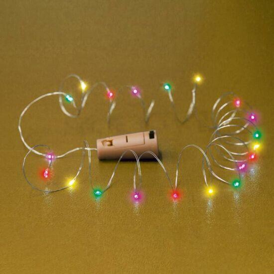 Micro LED-es elemes füzér, dugó alakú elemtartóval, színes