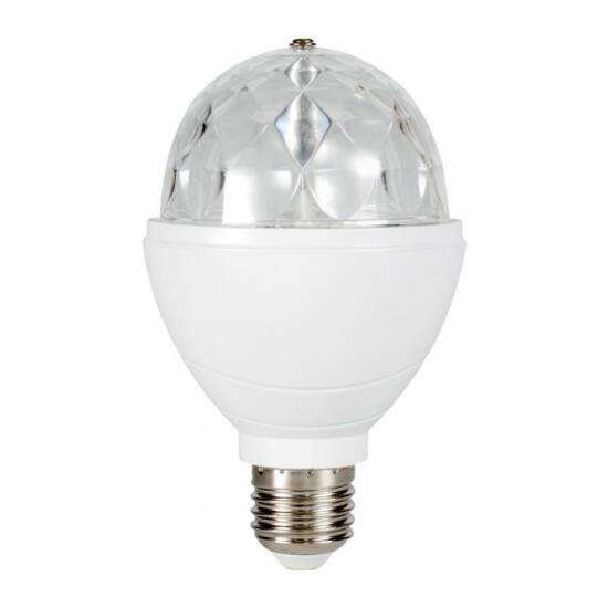 Diszkó lámpa, forgó RGB LED, 3W
